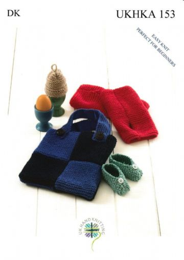Easy Knit Baby Shoes, Egg Cosy, Wrist Warmers and Bag in DK Knitting Pattern, UKHKA 153
